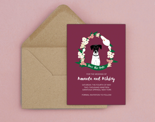 Pet-themed wedding invitation